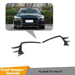 Przedni zderzak boczne z włókna węglowego rozgałęźniki przeciwmgielne klosz do Audi A7-sline S7 2019 2020 zderzak przedni Canards