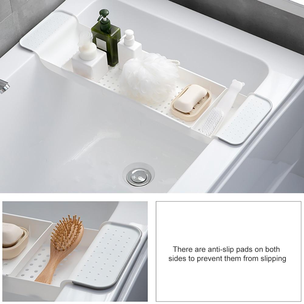 Retractable Plastic Shelf Bathtub Storage Rack Bathroom Drain Rack Bathtub Tray Kitchen  Bathroom Organizer Storage Accessories