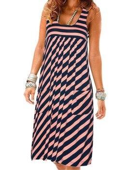 Модное платье в полоску, летнее платье большого размера, свободное простое платье без рукавов, женская одежда 3