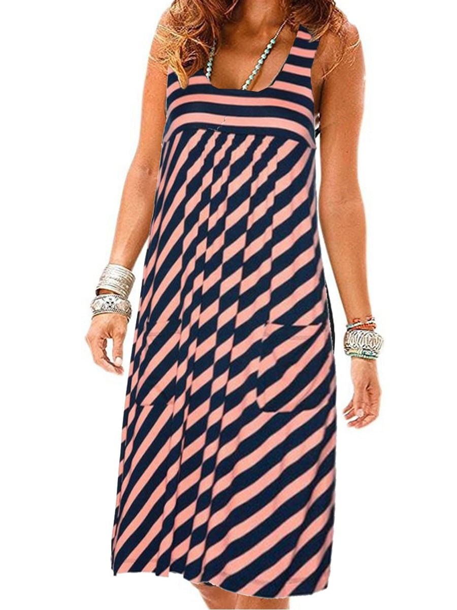 Fashion striped dress large size summer dress  loose simple sleeveless dress women's clothing 2
