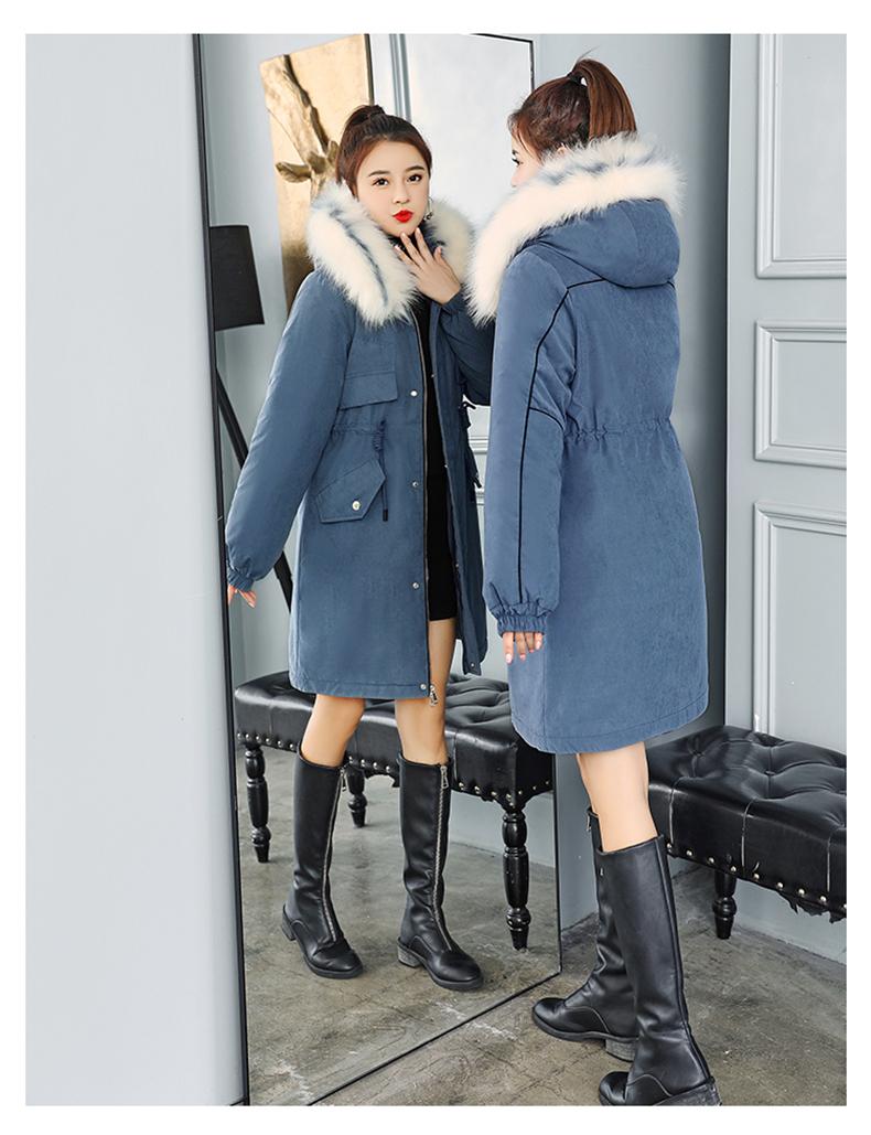 -30 градусов новый 2019 Для женщин зимняя куртка с капюшоном и меховой воротник Женская зимняя обувь Пальто Длинные парки с Меховая подкладка п... 24