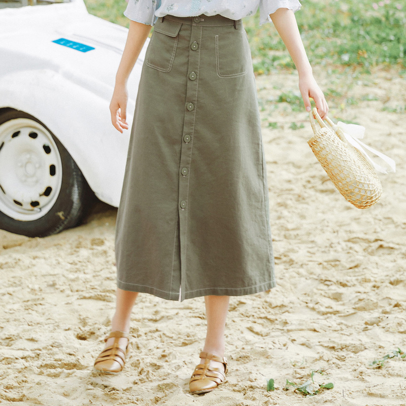 INMAN 2020 Summer New Arriavl Cotton And Linen Commuting Concise Style A-line Retro Skirt
