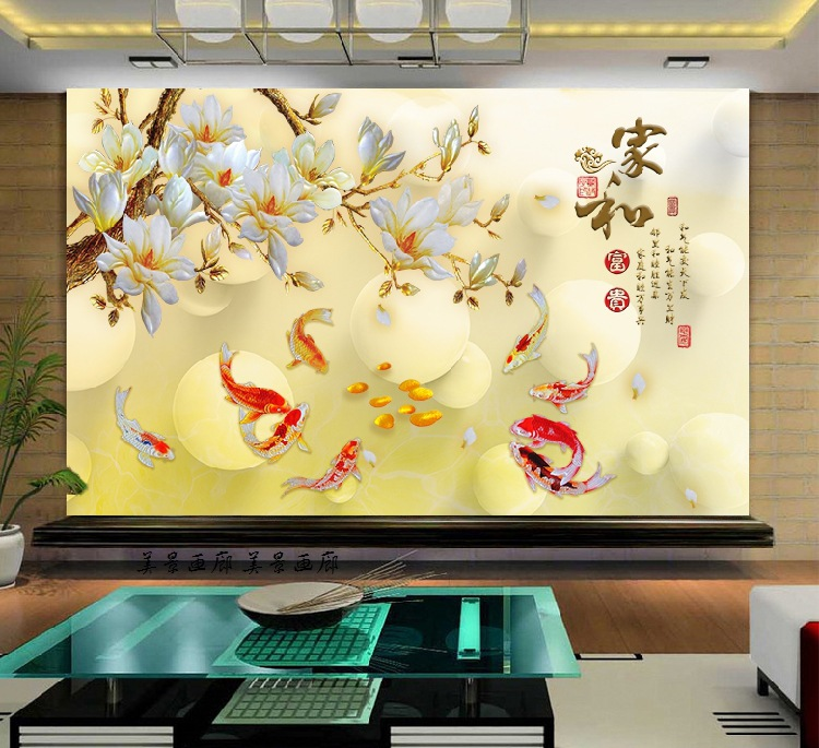 3D Jade Peony TV Background Wallpaper Living Room Large Mural Nine Fish Figure Seamless Wall Cloth