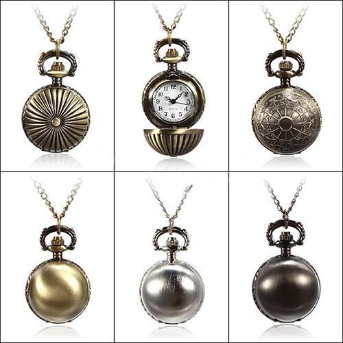 Retro Ball Metal Steampunk Quartz Necklace Pendant Chain Small Pocket Watch Hot