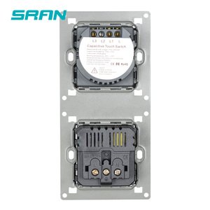 Image 4 - SRAN sensor switch,power socket with light switch 1/2/3gang 1way,Vertical installation crystal glass panel 172mm*86mm