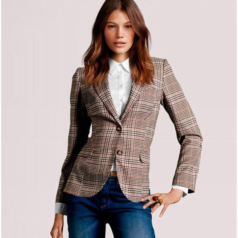 Regular Blazers Women Nice Autumn Suit Jacket Female Office Lady Suit Plaid Single Breasted Work Business Notched Blazer Coat