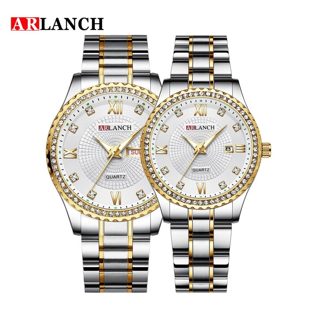 ARLANCH Brand Luxury Lover Watches Quartz Calendar Dress Women Men Watch Couples Wristwatch Relojes Hombre Relógio De Casal