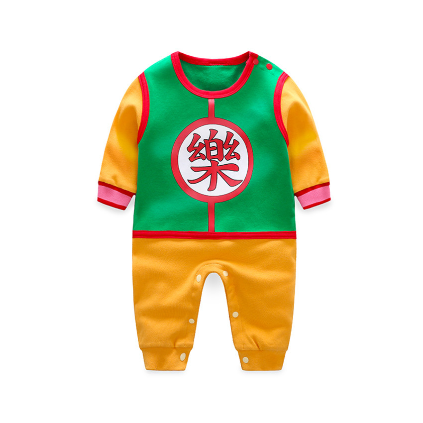 2019 Baby   Rompers   100% Cotton Chinese Characters Printing Dragon Ball Newborn Boy Girl Long Sleeve Jumpsuits Infant Clothing