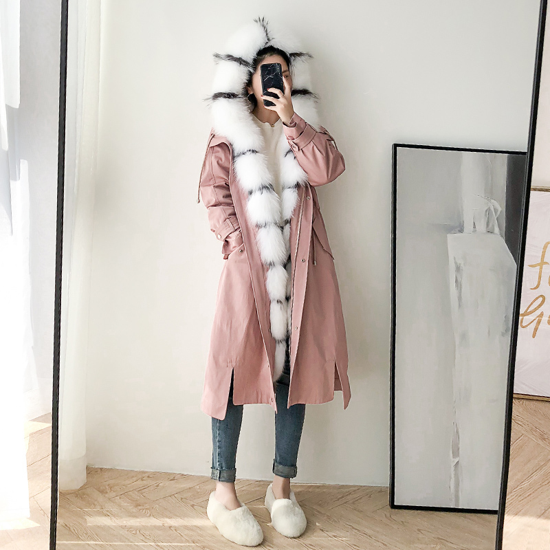 Real Fur Coat Women Rex Rabbit Fur Coat Fox Fur Collar Warm Winter Coat Women Real Fur Parka Women Clothes 2020 BGS80375 YY1098