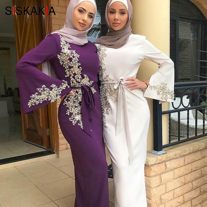 Candyly Middle Eastern Long Dress Muslim Women Modest Maxi Dress Abaya Turkey Long Robe Kaftan Clothes
