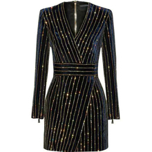 HAGEOFLY Frauen Bling Bling Langarm Kleid Schwarz V ausschnitt Volle Hülse Frauen Casual Büro Kleid Party Kleid Brasilien Vestidos XXL