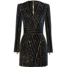 HAGEOFLY נשים בלינג בלינג ארוך שרוול שמלה שחור V צוואר מלא שרוול נשים מקרית משרד שמלת מסיבת שמלת ברזיל Vestidos XXL