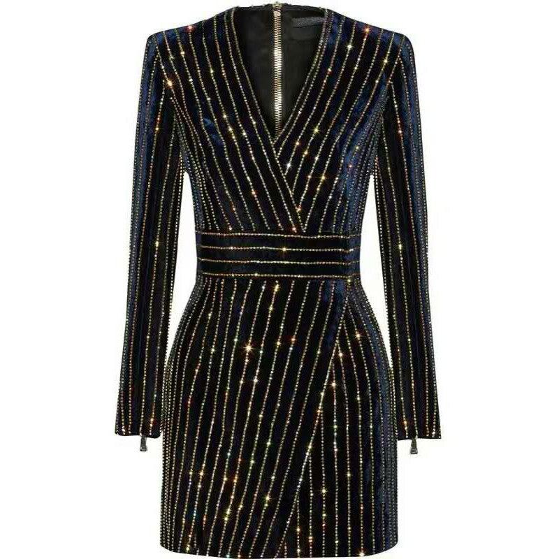 HAGEOFLY femmes Bling Bling robe à manches longues noir col en v à manches longues femmes décontracté bureau robe de soirée brésil Vestidos XXL