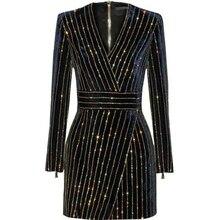 HAGEOFLY النساء بلينغ بلينغ فستان بكم طويل أسود الخامس الرقبة كامل كم المرأة عادية مكتب فستان حفلة البرازيل Vestidos XXL