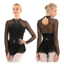 TiaoBug Adult Shiny Rhinestones Long Sleeve Mesh Splice Ballet Gymnastics Leotard Women Figure Ice Skating Dress Dance Costume