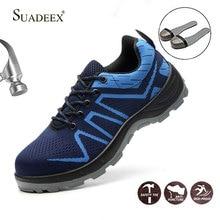 SUADEEX הישרדות בטיחות נעלי פלדת הבוהן פלדה סניקרס אנטי להחליק אנטי לנפץ לעבוד עבודת גברים נוח תעשייתי נעליים