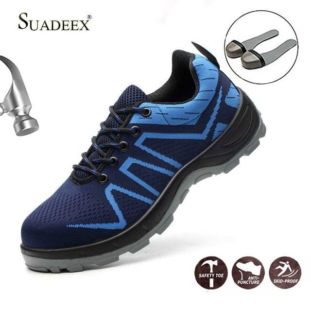 Suadeex サバイバル安全靴鋼つま先鋼スニーカー抗スリップ抗スマッシング作業男性作業ブーツ快適な産業靴