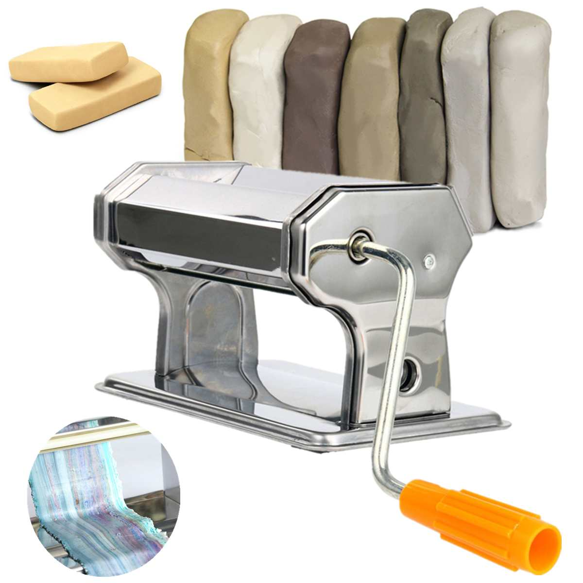 DIY Craft Polymer Rolling Machine Clay Press Roller Hand Cranked Handmade Press Pasta Tools Stainless Steel Non-Electric