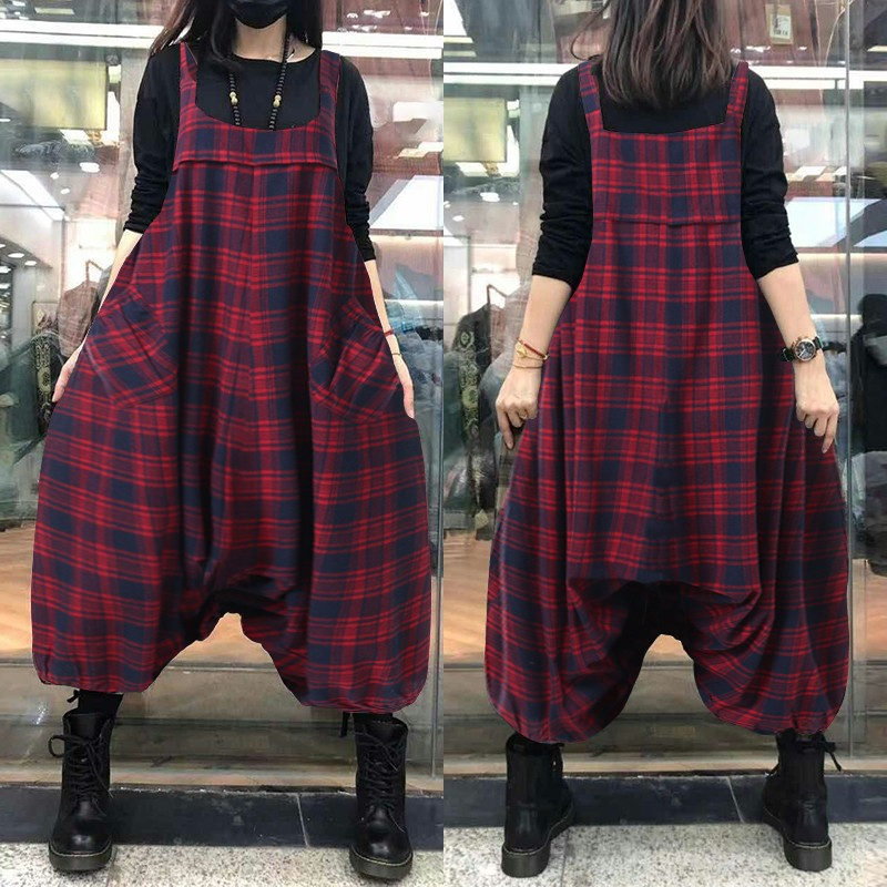 Women's Check Jumpsuits ZANZEA Vintage Drop Crotch Overalls Square Neck Long Pantalon Female Elastic Trousers Rompers Oversized