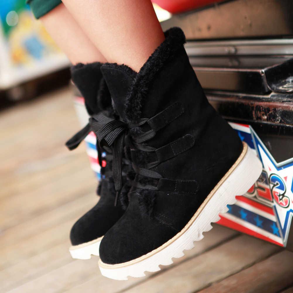 BONJOMARISA moda 32-43 dantel-up platformu çizmeler bayanlar kış sıcak ayak bileği kar botları kadın 2020 olmayan kayma peluş ayakkabı kadın