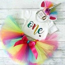 Baby Girls Birthday Outfits Dresses for 1st First Birthday Party Romper +Headband 1 Year Christening Tutu Dress 3Pcs Suit цены онлайн