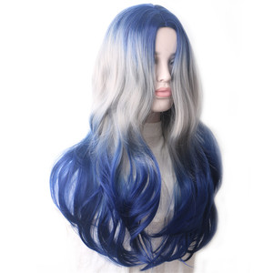 Image 4 - WoodFestival Synthetic Wig Heat Resistant Female Colored Wigs for Women Ombre Blue Grey Purple Green Pink Black Wavy Long Hair