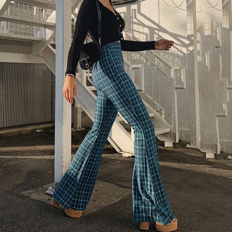 InstaHot Plaid Elegant Office Lady Elastic Waist Flare Hem Pants Casual Minimalist Trousers 2019 Autumn Fashion Streetwear Pants