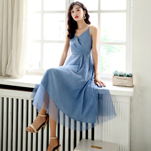 Spring and summer new style French retro solid color dress Fashion wild mesh large
