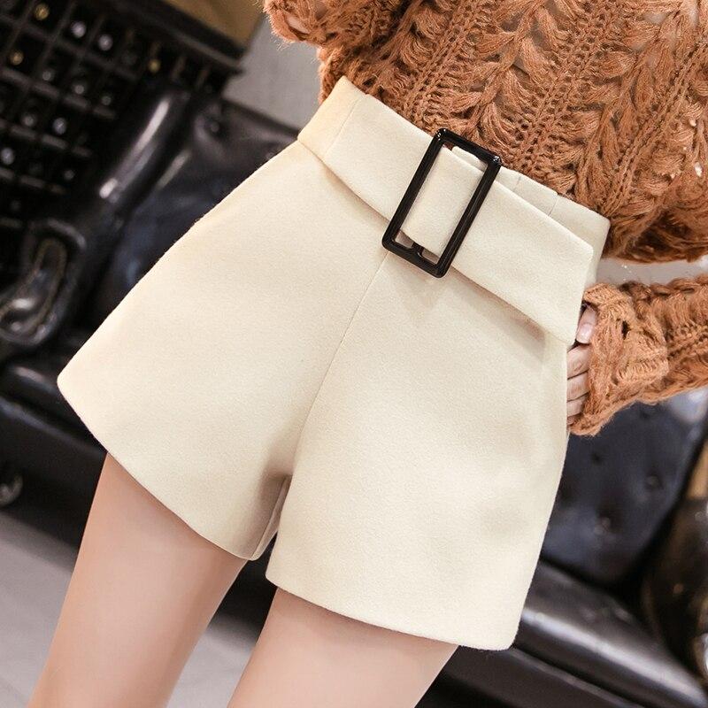 Belted Pocket Shorts Women Fashion Black Shorts Women Woolen Short Trouser Plus Size 2020 Spring Plaid Shorts Solid High Waist