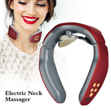Smart Electric Neck Massager Pulse Cervical Traction Therapy Massage Stimulator Health Care Pain Relief Tool Heating Relaxation health care smart rechargeable usb infrared heating neck massager electric relax cervical treatment acupuncture stimulator