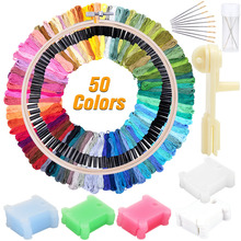LMDZ Thread-Holder Floss Bobbins Embroidery Thread Cross Stitch Embroidery Embroidery Hoop-Ring Threads For Knitting tanie tanio Solid Paintings CN(Origin) LMDZ Thread-Holder Cross Stitch Embroidery Threads For Knitting plastic 50colors 100pcs 1pcs