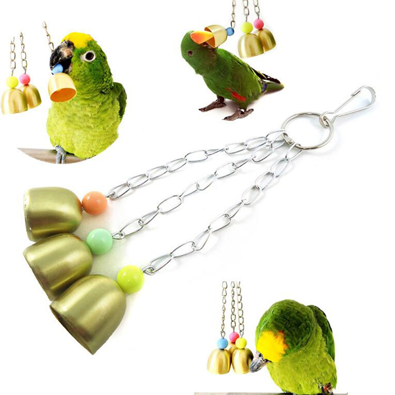 Cockatiel Parrot Toys Steel Hanging Bell Cage Toys for Parrots Bird Squirrel Funny Chain Swing Toy