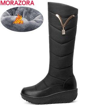 MORAZORA 2020 Rusia cálido invierno botas de nieve mujer zapatos de moda de cuero genuino punta redonda plataforma botas altas de rodilla al por mayor