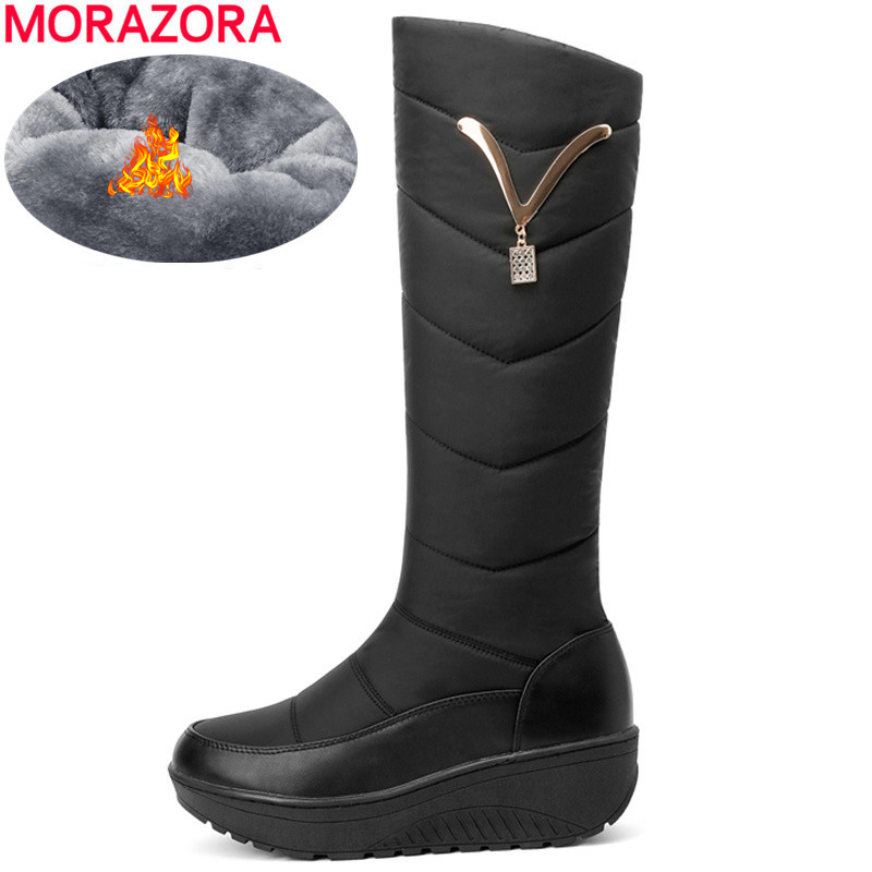 Image 1 - MORAZORA 2020 Snow Boots Women Winter Warm Platform Shoes fashion Metal decoration Waterproof non slip wedges Knee High boots-in Knee-High Boots from Shoes
