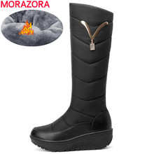 MORAZORA 2020 Snow Boots Women Winter Warm Platform Shoes fashion Metal decoration Waterproof non slip wedges Knee High boots