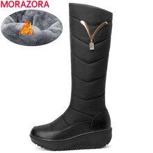 Morazora 2020 botas de neve mulheres inverno quente plataforma sapatos moda decoração de metal à prova dwaterproof água não deslizamento cunhas joelho botas altas