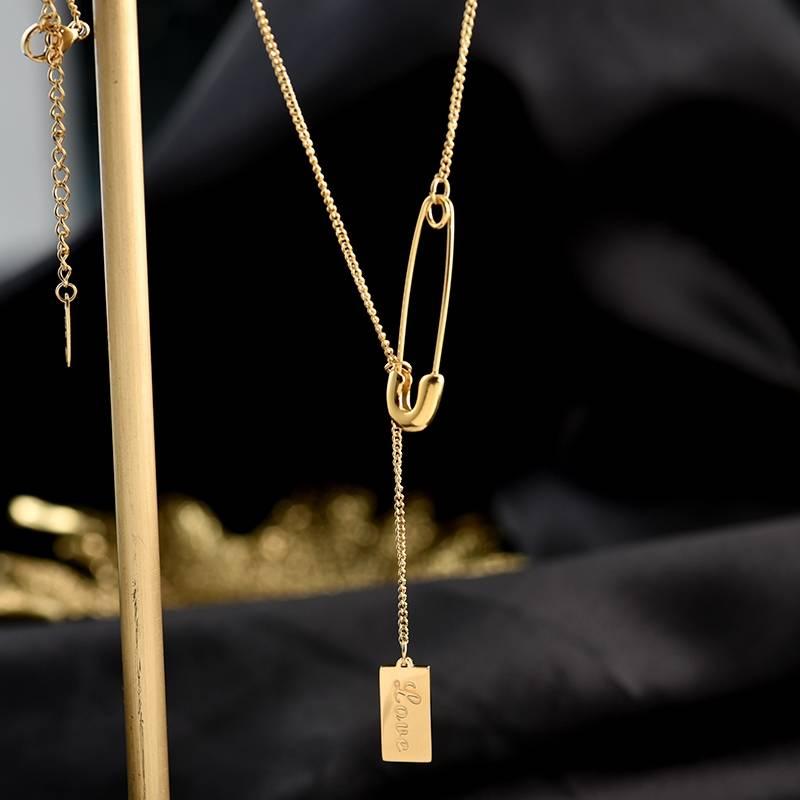 Vnox Chic Pin Stil Anhänger Halsketten für Frauen Lady Personalisierte Liebe Custom Exquisite Geschenke für Sie Choker Kragen Schmuck