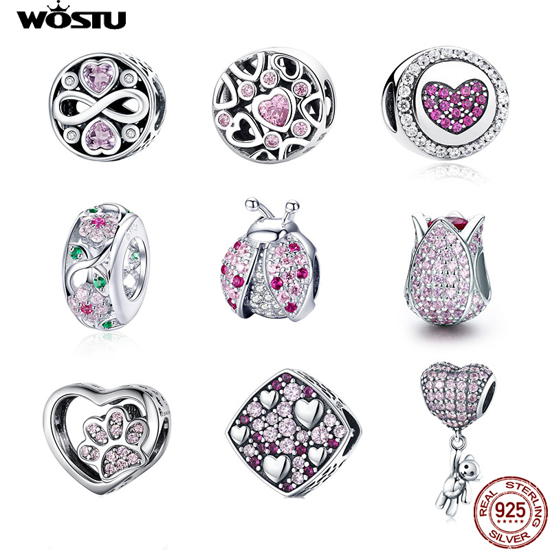 WOSTU Authentic 100% 925 Sterling Silver Pink Zircon Crystal Beads Charm Fit Original Bracelet Pendant Silver 925 Jewelry Making
