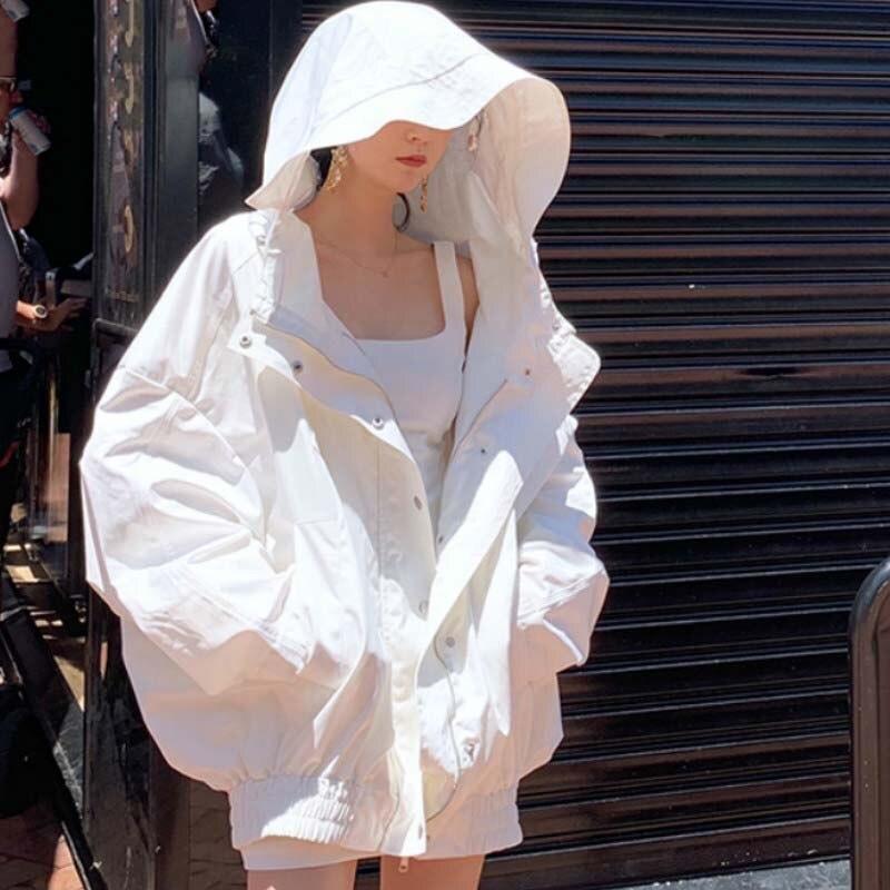 2020 Summer Loose Large Size Female Windbreaker   Jacket   Harajuku Hooded Student BF Coat Oversize White   Jacket     Basic   Coats