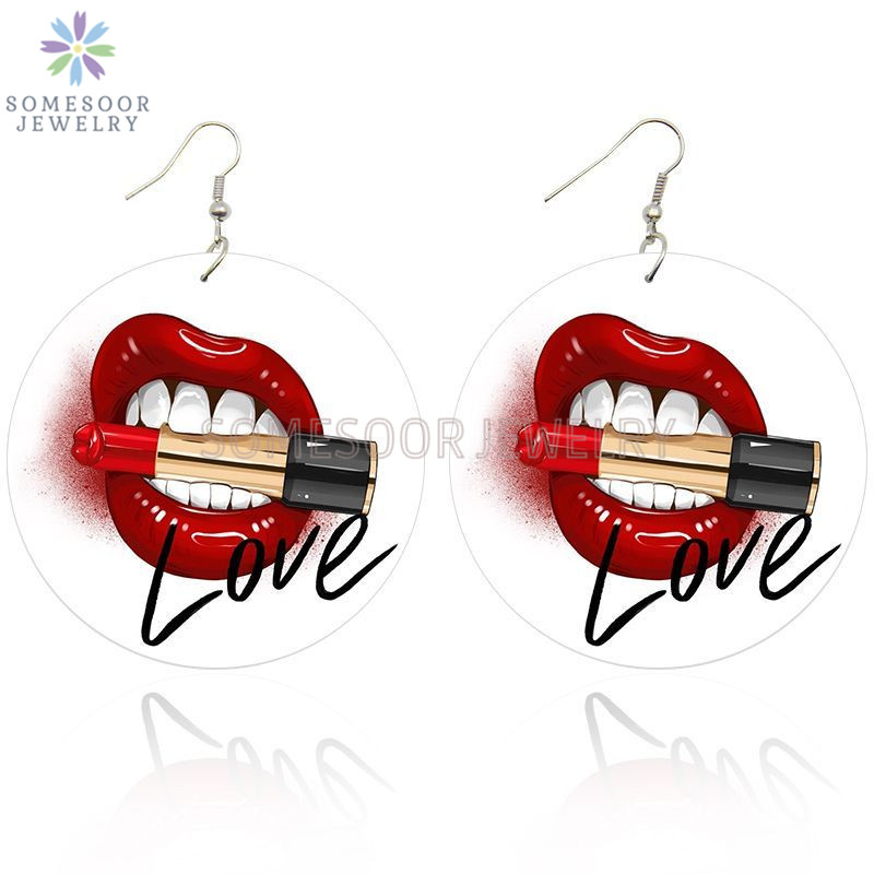 SOMESOOR Love My Lipstick Black Arts Painted Wooden Drop Earrings Both Sides Printed VIntage Wood Dangle Jewelry For Women Gifts