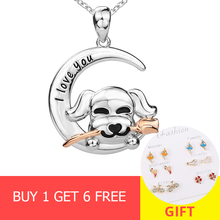 XiaoJing Genuine 100% 925 Sterling Silver Rose flower Cute Animal Dog Necklaces Pendants Women fashion Jewelry free shipping