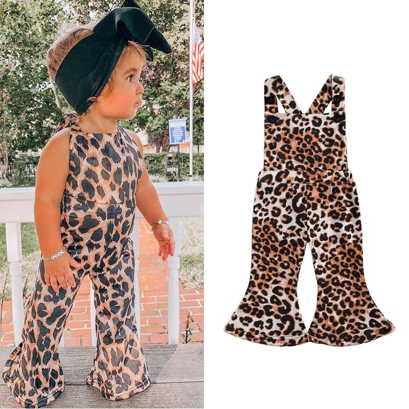 Focusnm 0-3y adorável infantil bebê meninas macacão calças leopardo impressão sem mangas sem costas macacões