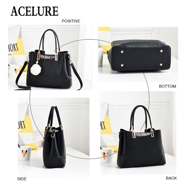 ACELURE Women Handbag Leather Tote Bags Hairball Luxury Women Shoulder Bags Ladies Leather Handbags Fashion Women Messenger Bag