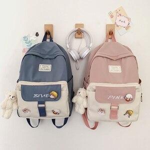 Junior High Girls School Backpack High Capacity Soft Nylon School Bags Cute Women Bookbag Student Schoolbag Bagpack Waterproof