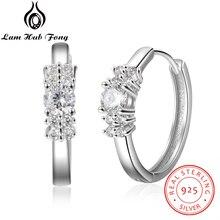 Роскошные 925 пробы серебряные серьги-кольца, CZ серьги, Стерлинговое серебро, ювелирные изделия, подарок на свадьбу, помолвку для женщин(Lam Hub Fong