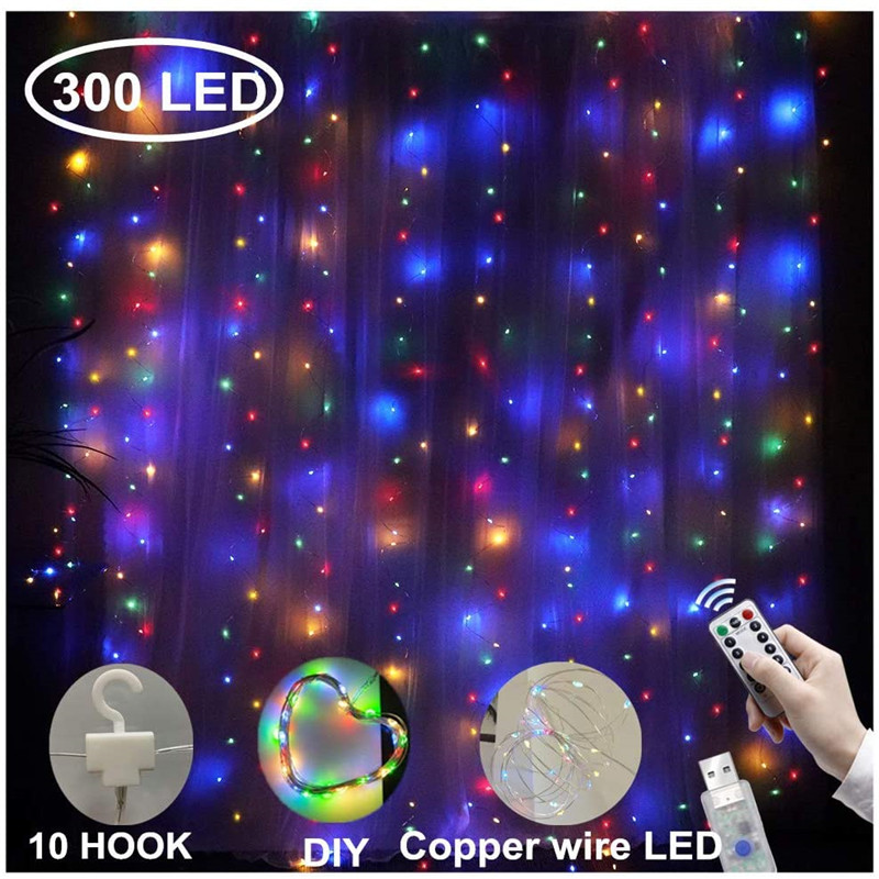 3M LED Curtain usb String Lights Flash Fairy Garland Remote Control For Outdoor Wedding Home decor  New Year Christmas