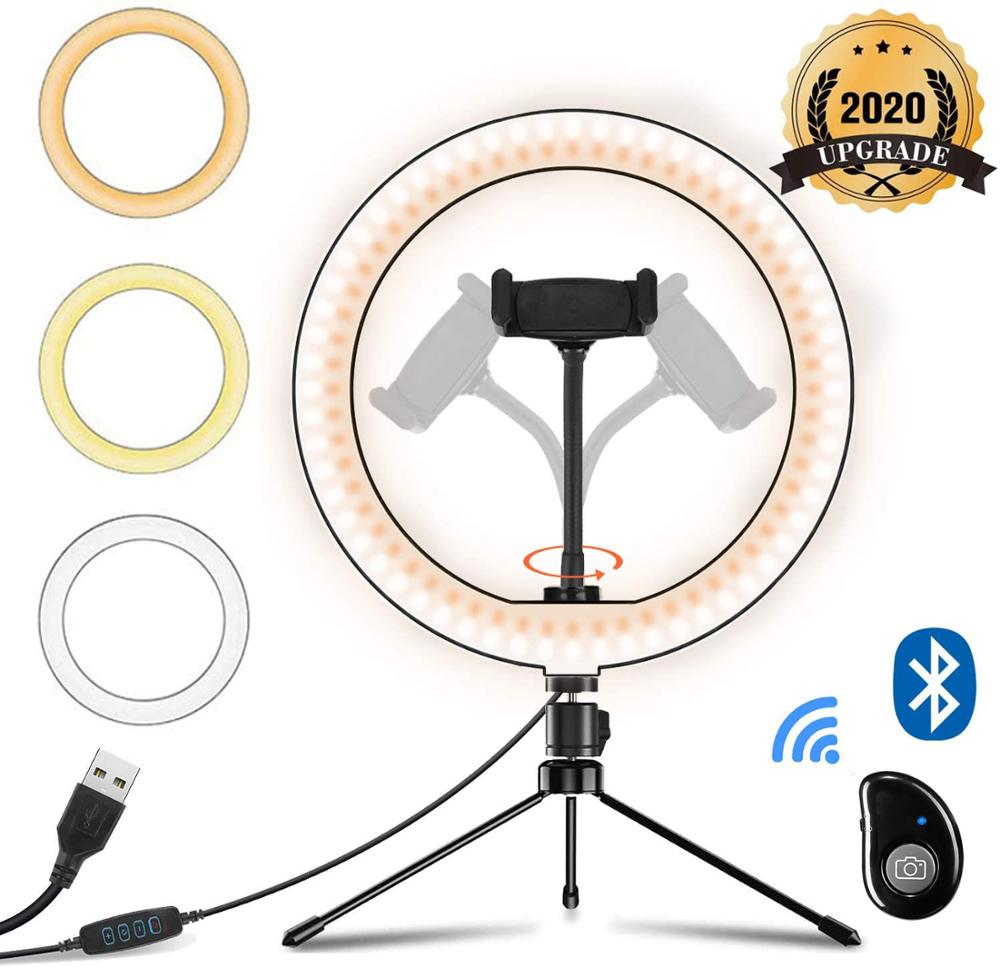 10inch Led Selfie Ring Light with Tripod Stand and Remote  amp  Cell Phone Holder      Desk Makeup Ring Lamp for YouTube Live Stream