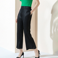 High waist Womens straight trousers Black Summer Thin paragraph Ninth pants Wrinkled wide-legged