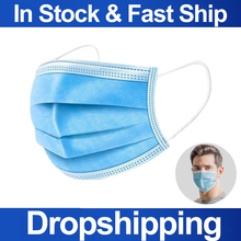 Dropshipping In Stock Disposable Mask Face Mouth Masks Non Woven Anti Dust Earloops Masks 3 Layers Dust Protection Masks