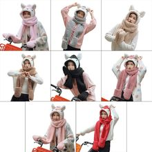Unisex Adult Cartoon 3 in 1 Hat Gloves Scarf  Thick Cotton Velvet Fashion Animal Image Pattern Hoodie Earflap Head Shawl